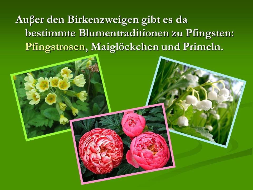 Auβer den Birkenzweigen gibt es da bestimmte Blumentraditionen zu Pfingsten: Pfingstrosen, Maiglöckchen und Primeln.