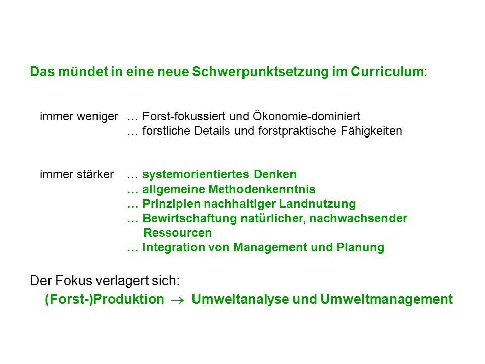 Das mündet in eine neue Schwerpunktsetzung im Curriculum: immer weniger… Forst-fokussiert und Ökonomie-dominiert … forstliche Details und forstpraktis