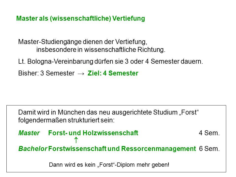 """Master als (wissenschaftliche) Vertiefung Damit wird in München das neu ausgerichtete Studium """"Forst"""" folgendermaßen strukturiert sein: Master Forst-"""