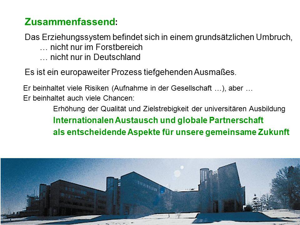 Zusammenfassend : Das Erziehungssystem befindet sich in einem grundsätzlichen Umbruch, … nicht nur im Forstbereich … nicht nur in Deutschland Es ist e