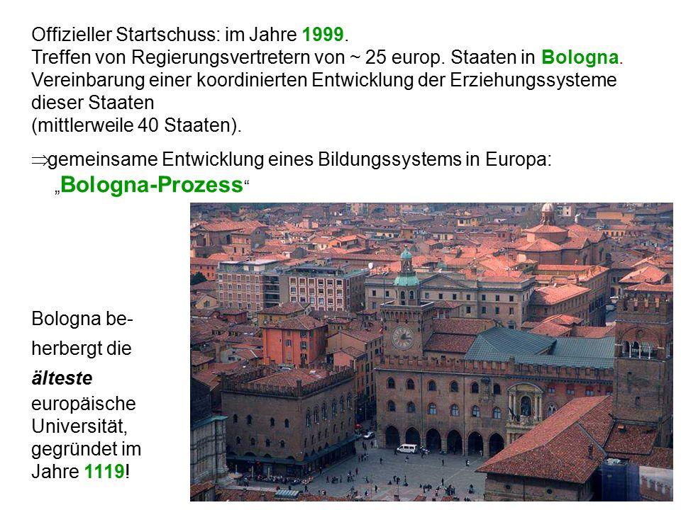 Offizieller Startschuss: im Jahre 1999. Treffen von Regierungsvertretern von ~ 25 europ. Staaten in Bologna. Vereinbarung einer koordinierten Entwickl