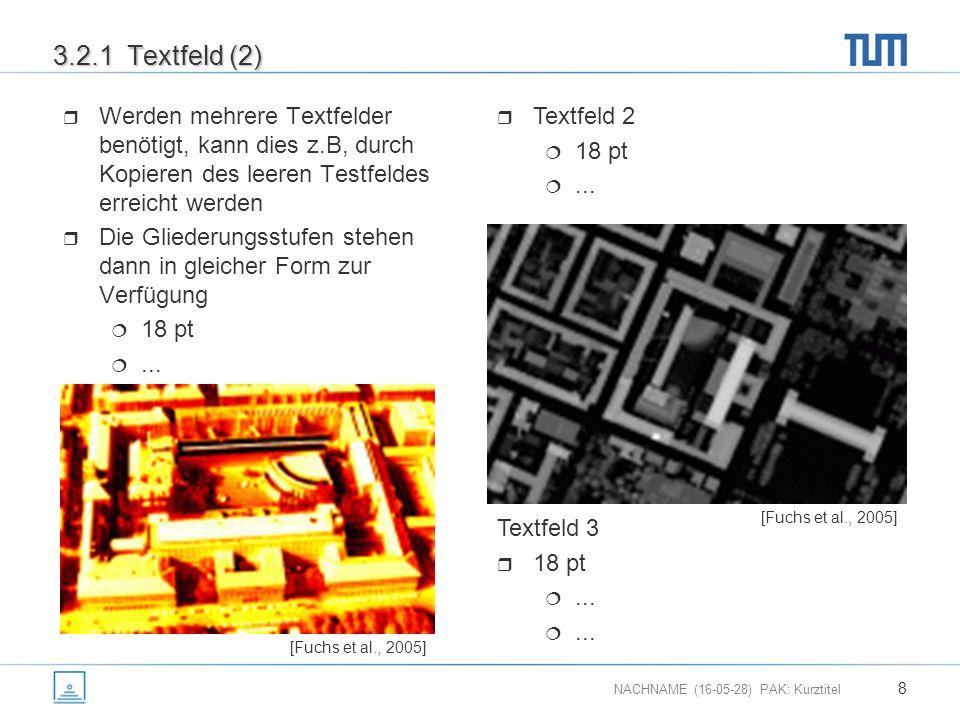 NACHNAME (16-05-28) PAK: Kurztitel 8 3.2.1 Textfeld (2)  Werden mehrere Textfelder benötigt, kann dies z.B, durch Kopieren des leeren Testfeldes erreicht werden  Die Gliederungsstufen stehen dann in gleicher Form zur Verfügung  18 pt ...