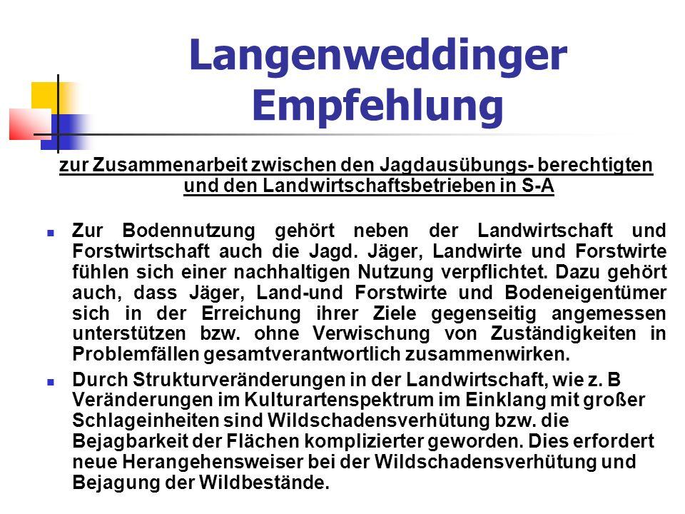 Langenweddinger Empfehlung zur Zusammenarbeit zwischen den Jagdausübungs- berechtigten und den Landwirtschaftsbetrieben in S-A Zur Bodennutzung gehört neben der Landwirtschaft und Forstwirtschaft auch die Jagd.