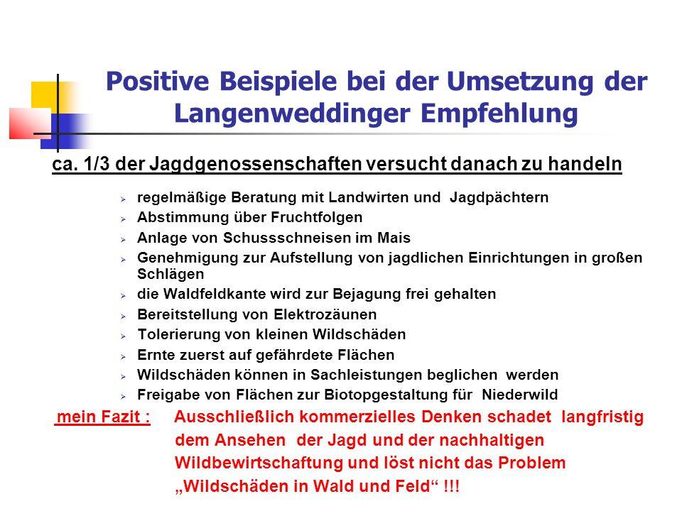 Positive Beispiele bei der Umsetzung der Langenweddinger Empfehlung ca.
