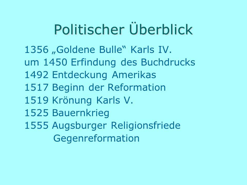 """Politischer Überblick 1356 """"Goldene Bulle"""" Karls IV. um 1450 Erfindung des Buchdrucks 1492 Entdeckung Amerikas 1517 Beginn der Reformation 1519 Krönun"""