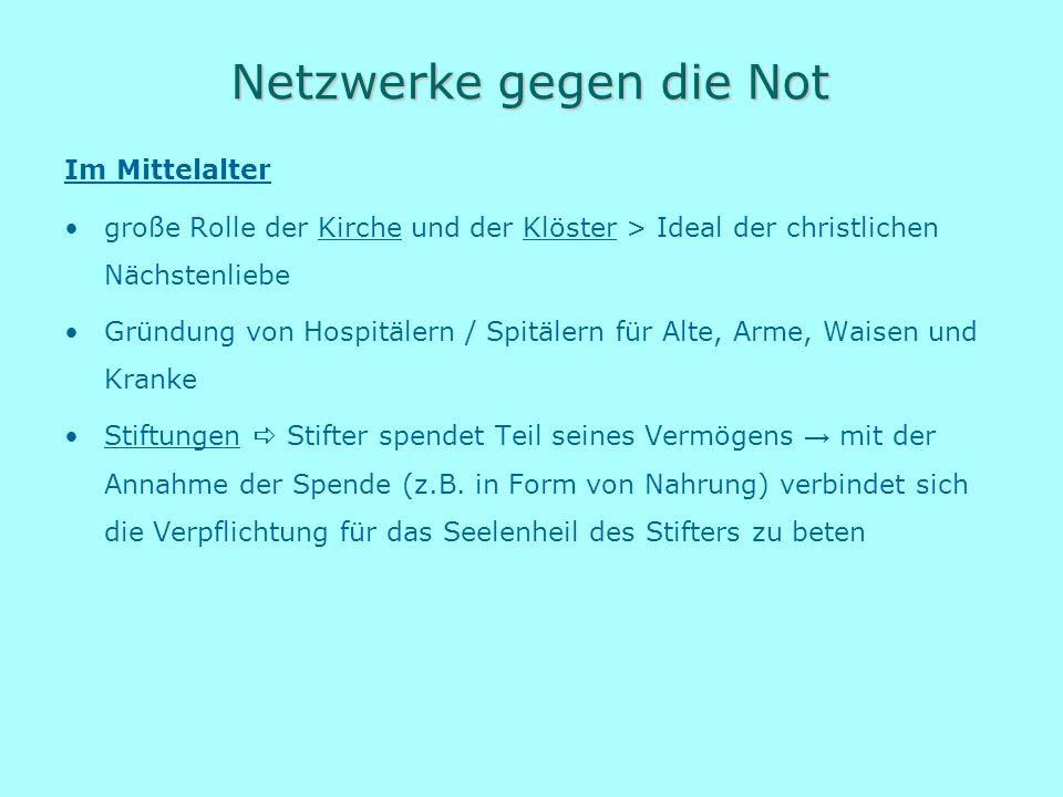 Netzwerke gegen die Not Im Mittelalter große Rolle der Kirche und der Klöster > Ideal der christlichen Nächstenliebe Gründung von Hospitälern / Spitäl