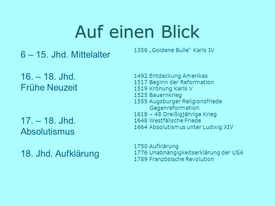 """Auf einen Blick 1356 """"Goldene Bulle"""" Karls IV 1492 Entdeckung Amerikas 1517 Beginn der Reformation 1519 Krönung Karls V 1525 Bauernkrieg 1555 Augsburg"""