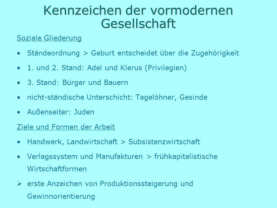 Kennzeichen der vormodernen Gesellschaft Soziale Gliederung Ständeordnung > Geburt entscheidet über die Zugehörigkeit 1. und 2. Stand: Adel und Klerus