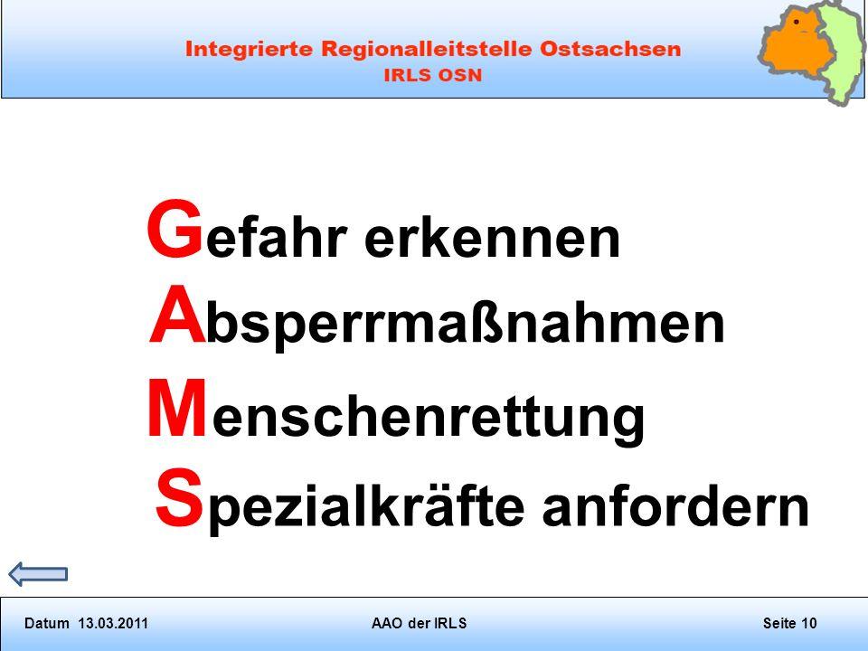 G efahr erkennen A bsperrmaßnahmen M enschenrettung S pezialkräfte anfordern Datum 13.03.2011AAO der IRLSSeite 10