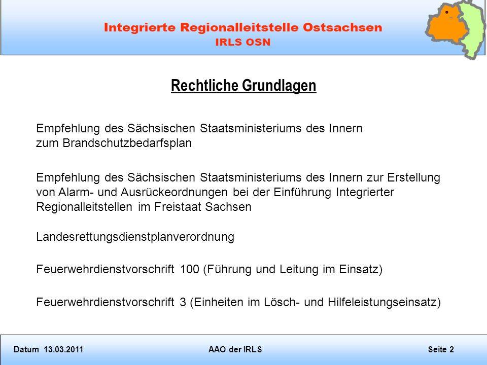 Forderungen an eine AAO aus der Sächsischen Landesrettungsdienstplanverordnung Zur Realisierung der Redundanzforderungen ist von allen IRLS eine normierte Alarmordnung vorzuhalten.