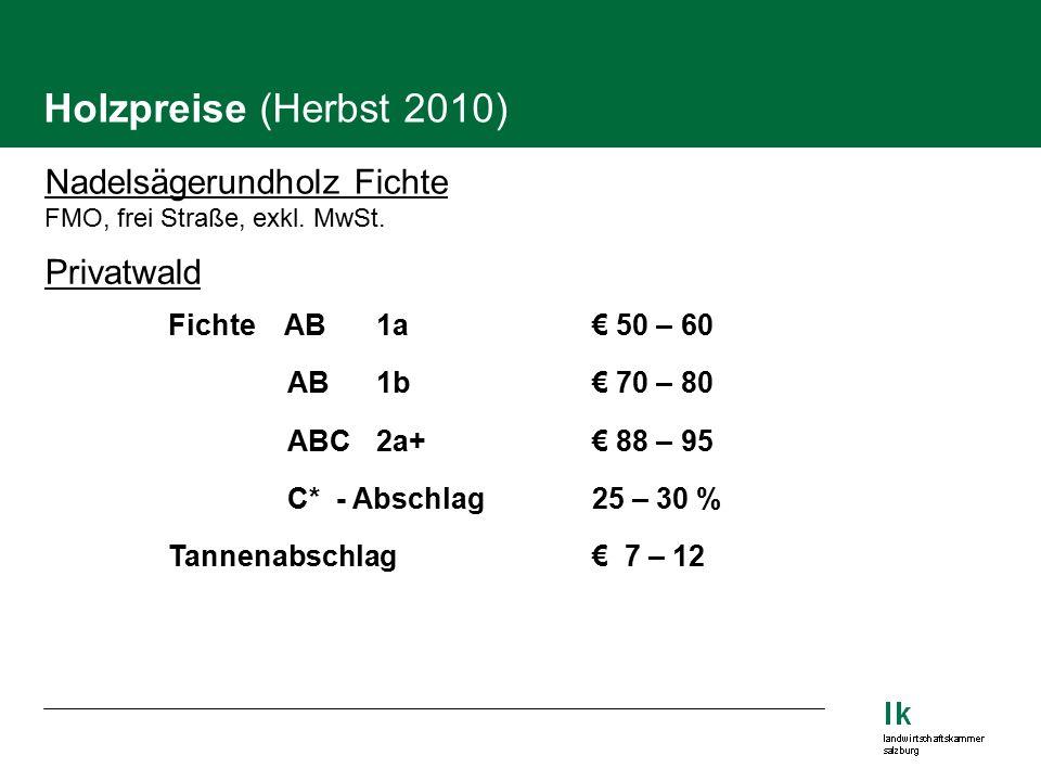 Holzpreise (Herbst 2010) Nadelsägerundholz Fichte FMO, frei Straße, exkl.