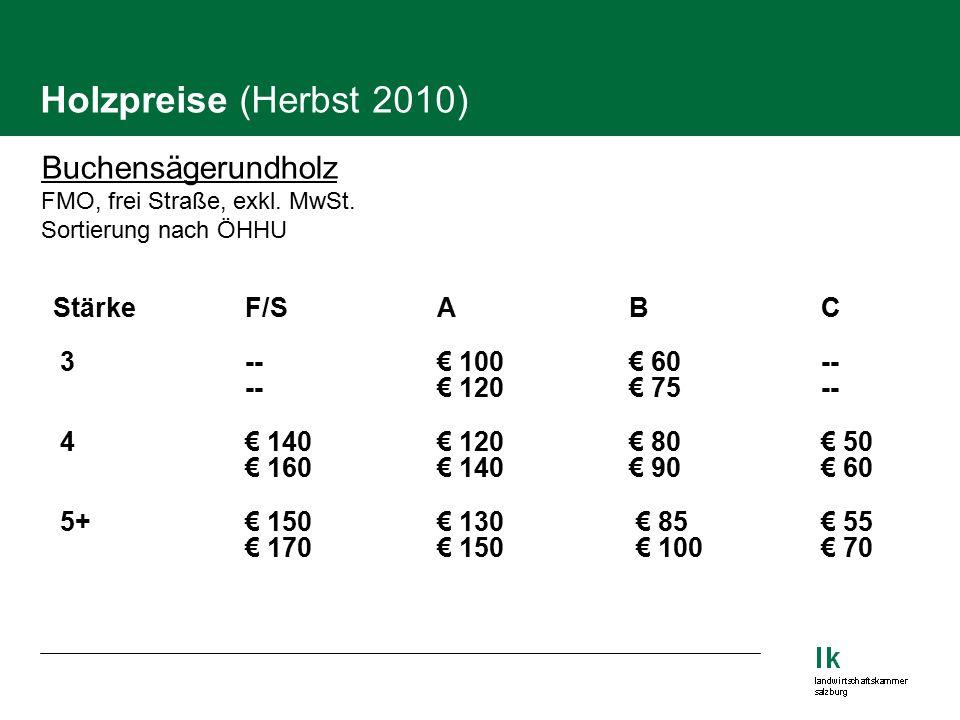 Holzpreise (Herbst 2010) Buchensägerundholz FMO, frei Straße, exkl.