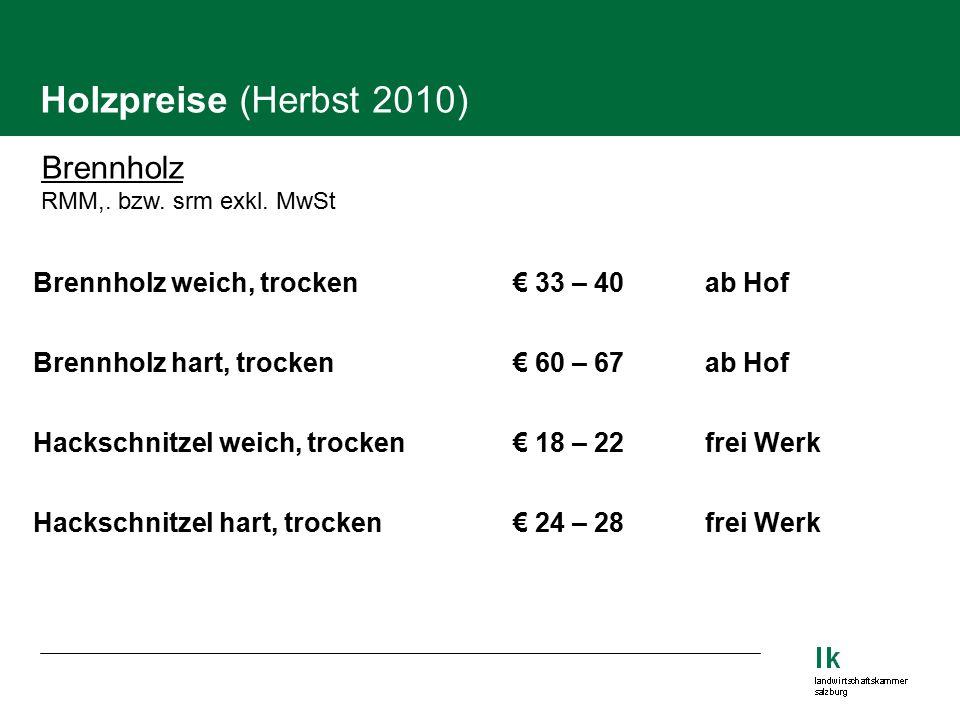 Holzpreise (Herbst 2010) Brennholz RMM,. bzw. srm exkl.