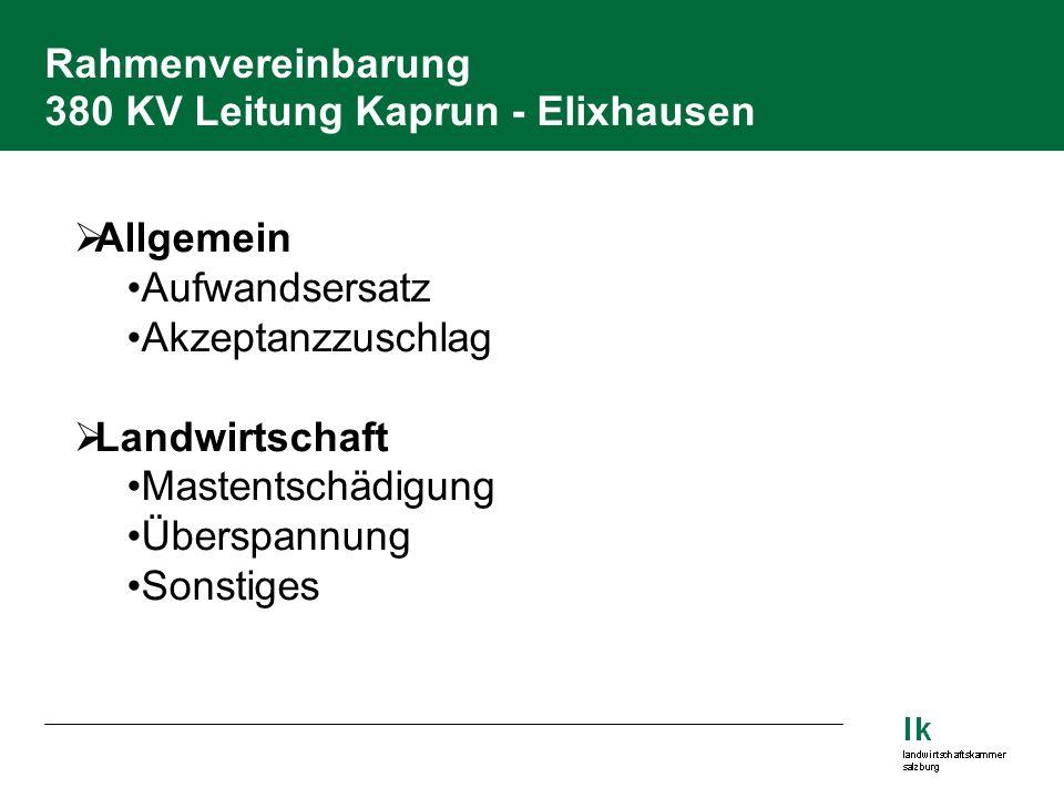 Rahmenvereinbarung 380 KV Leitung Kaprun - Elixhausen  Allgemein Aufwandsersatz Akzeptanzzuschlag  Landwirtschaft Mastentschädigung Überspannung Sonstiges