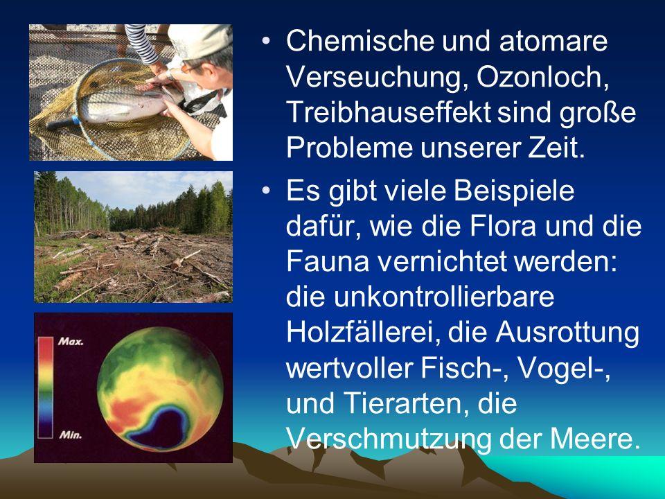 Chemische und atomare Verseuchung, Ozonloch, Treibhauseffekt sind große Probleme unserer Zeit. Es gibt viele Beispiele dafür, wie die Flora und die Fa