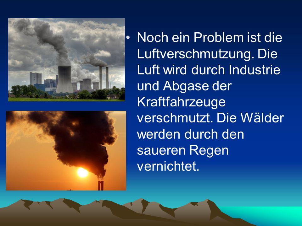 Noch ein Problem ist die Luftverschmutzung. Die Luft wird durch Industrie und Abgase der Kraftfahrzeuge verschmutzt. Die Wälder werden durch den sauer