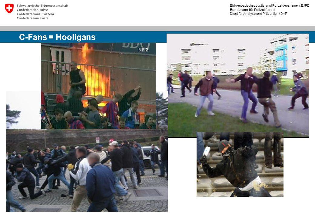 Eidgenössisches Justiz- und Polizeidepartement EJPD Bundesamt für Polizei fedpol Dient für Analyse und Prävention / DAP C-Fans = Hooligans