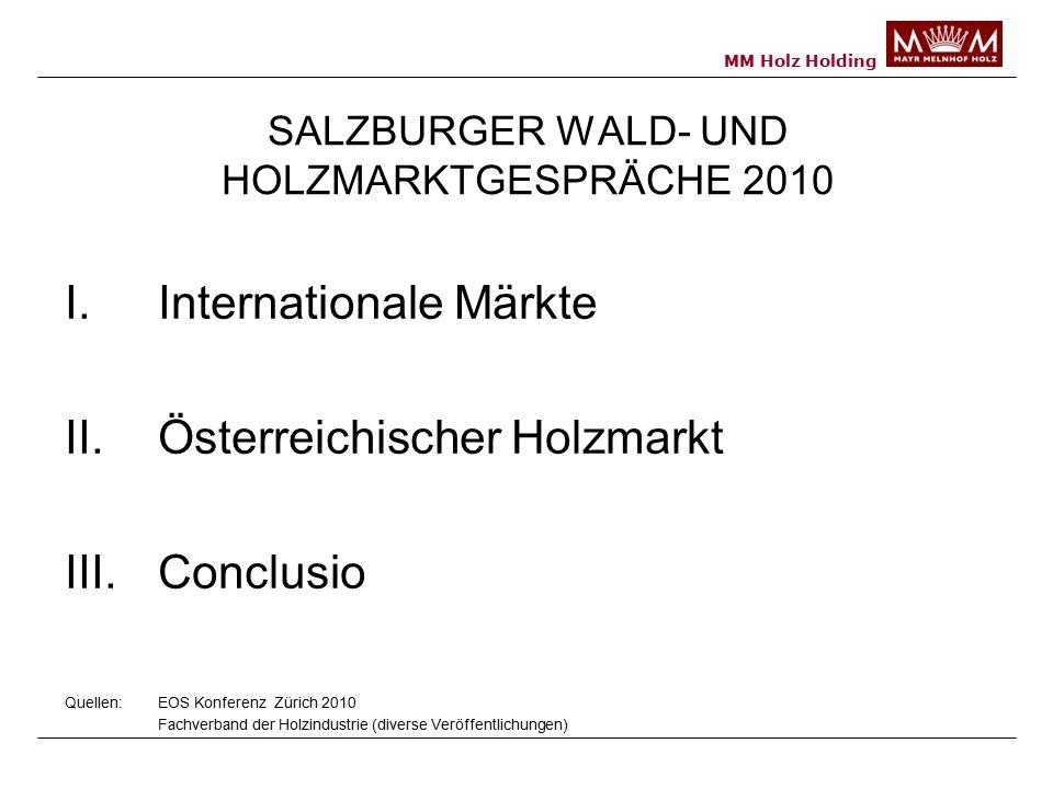 MM Holz Holding SALZBURGER WALD- UND HOLZMARKTGESPRÄCHE 2010 I.Internationale Märkte II.Österreichischer Holzmarkt III.Conclusio Quellen: EOS Konferenz Zürich 2010 Fachverband der Holzindustrie (diverse Veröffentlichungen)