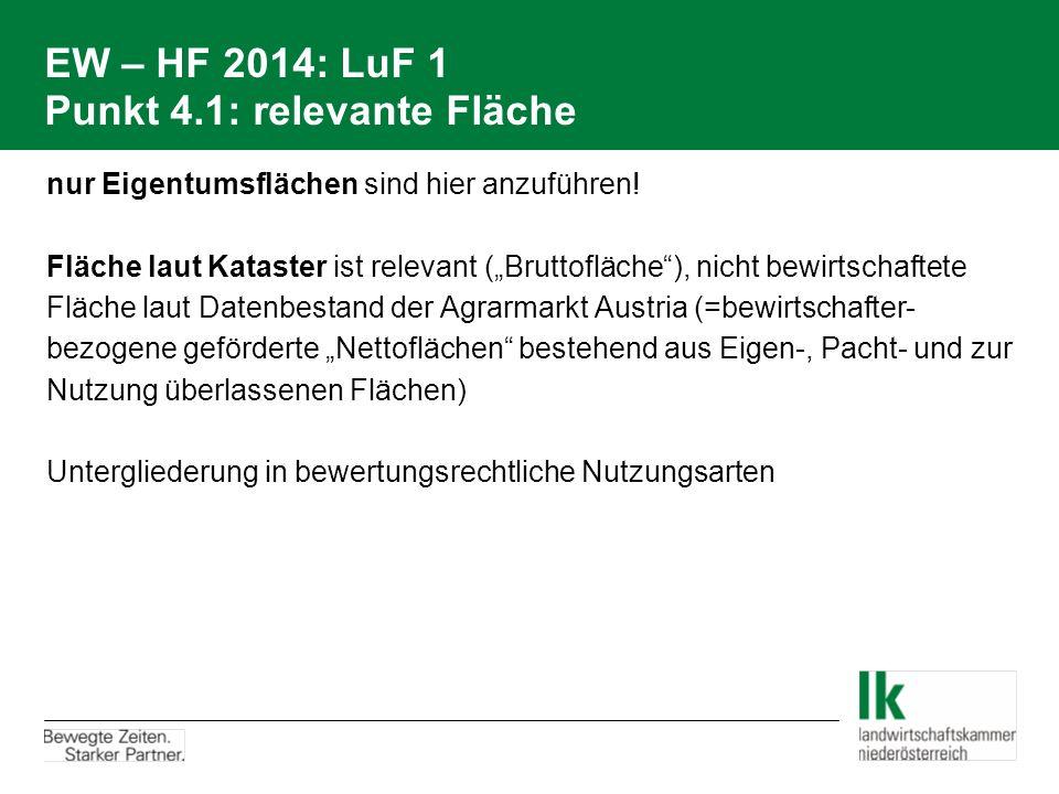 EW – HF 2014: LuF 1 Punkt 4.1: relevante Fläche nur Eigentumsflächen sind hier anzuführen.