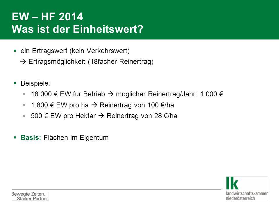 EW – HF 2014 Was ist der Einheitswert?  ein Ertragswert (kein Verkehrswert)  Ertragsmöglichkeit (18facher Reinertrag)  Beispiele:  18.000 € EW für