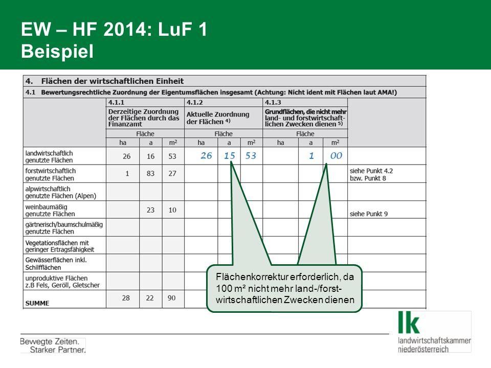 EW – HF 2014: LuF 1 Beispiel Flächenkorrektur erforderlich, da 100 m² nicht mehr land-/forst- wirtschaftlichen Zwecken dienen