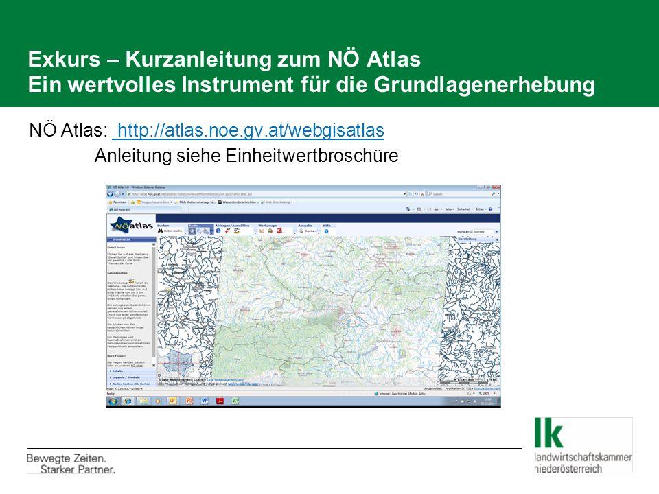 Exkurs – Kurzanleitung zum NÖ Atlas Ein wertvolles Instrument für die Grundlagenerhebung NÖ Atlas: http://atlas.noe.gv.at/webgisatlas Anleitung siehe Einheitwertbroschüre