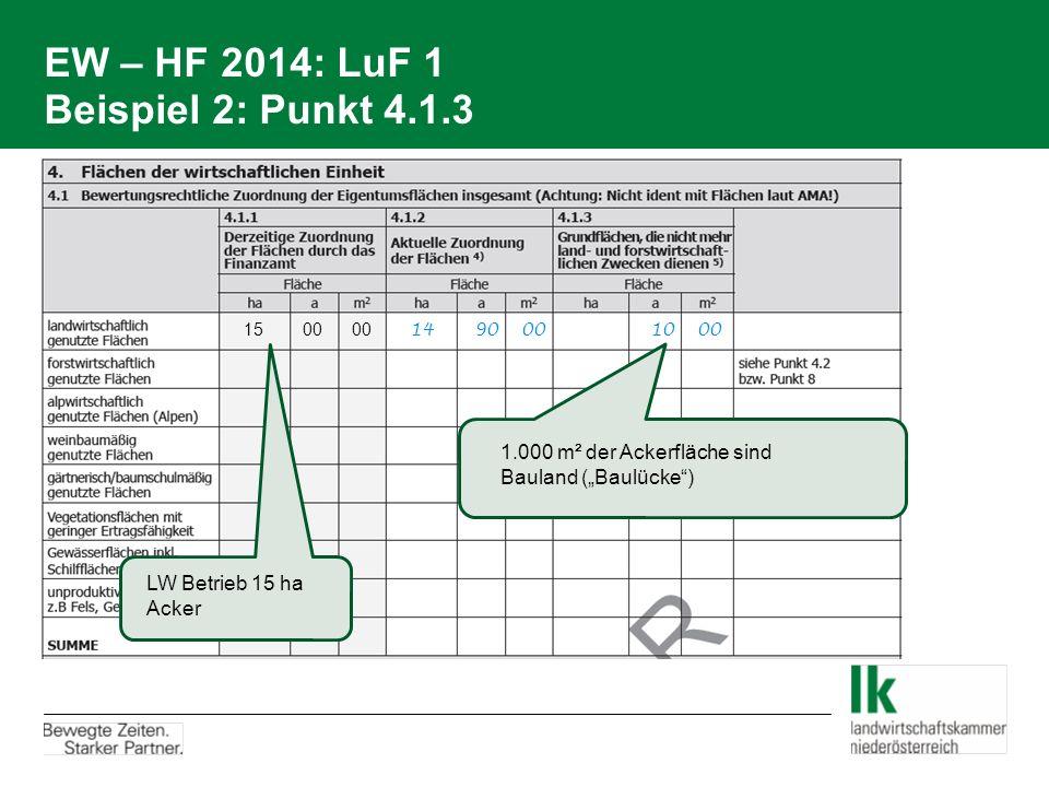 """EW – HF 2014: LuF 1 Beispiel 2: Punkt 4.1.3 15 00 00 14 90 00 10 00 LW Betrieb 15 ha Acker 1.000 m² der Ackerfläche sind Bauland (""""Baulücke"""")"""