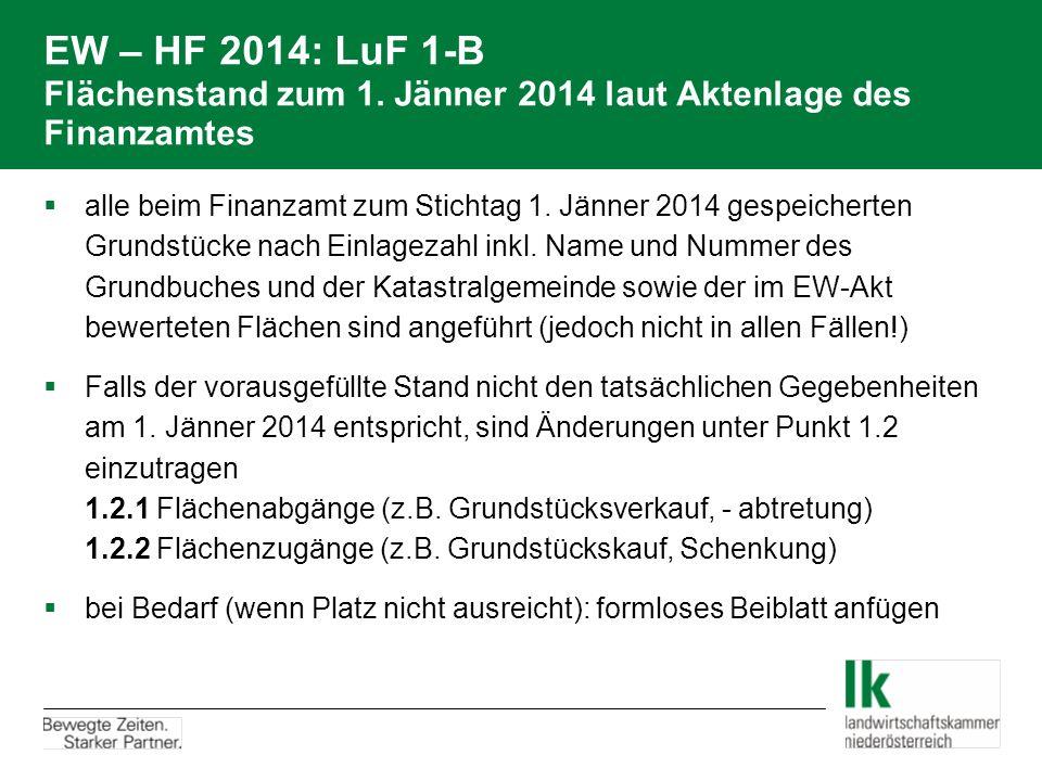 EW – HF 2014: LuF 1-B Flächenstand zum 1. Jänner 2014 laut Aktenlage des Finanzamtes  alle beim Finanzamt zum Stichtag 1. Jänner 2014 gespeicherten G