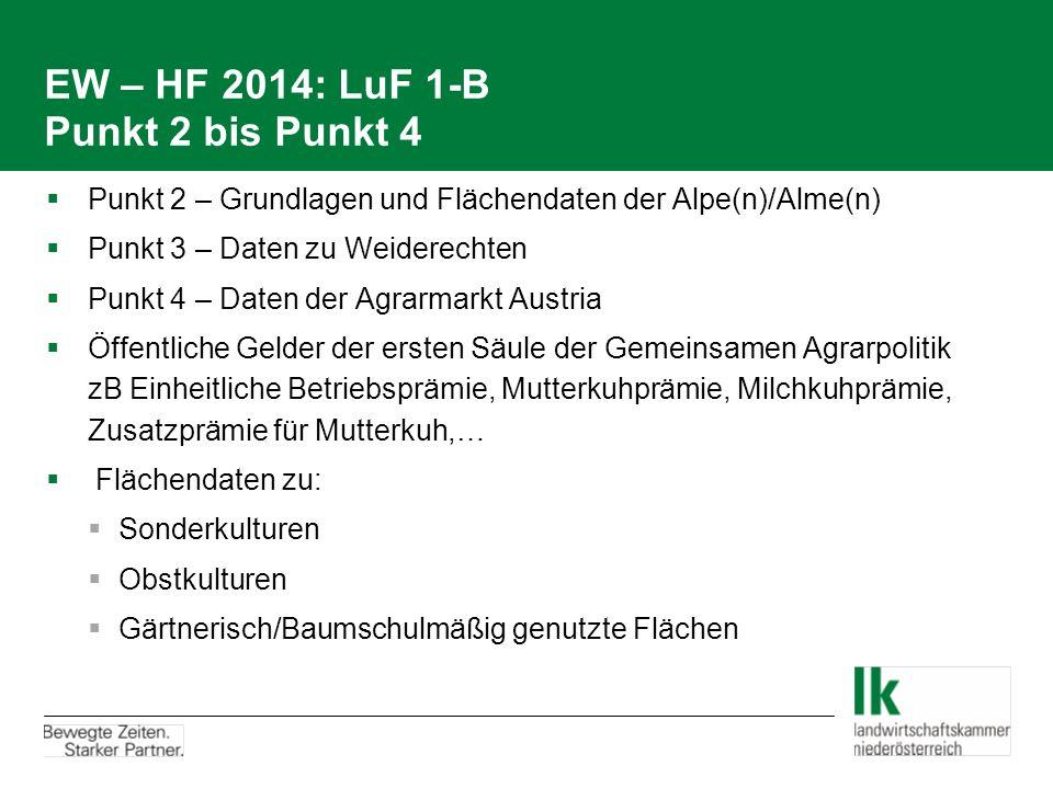 EW – HF 2014: LuF 1-B Punkt 2 bis Punkt 4  Punkt 2 – Grundlagen und Flächendaten der Alpe(n)/Alme(n)  Punkt 3 – Daten zu Weiderechten  Punkt 4 – Da