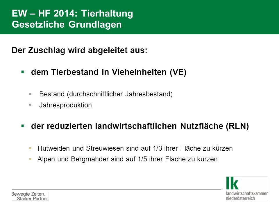 EW – HF 2014: Tierhaltung Gesetzliche Grundlagen Der Zuschlag wird abgeleitet aus:  dem Tierbestand in Vieheinheiten (VE)  Bestand (durchschnittlicher Jahresbestand)  Jahresproduktion  der reduzierten landwirtschaftlichen Nutzfläche (RLN)  Hutweiden und Streuwiesen sind auf 1/3 ihrer Fläche zu kürzen  Alpen und Bergmähder sind auf 1/5 ihrer Fläche zu kürzen