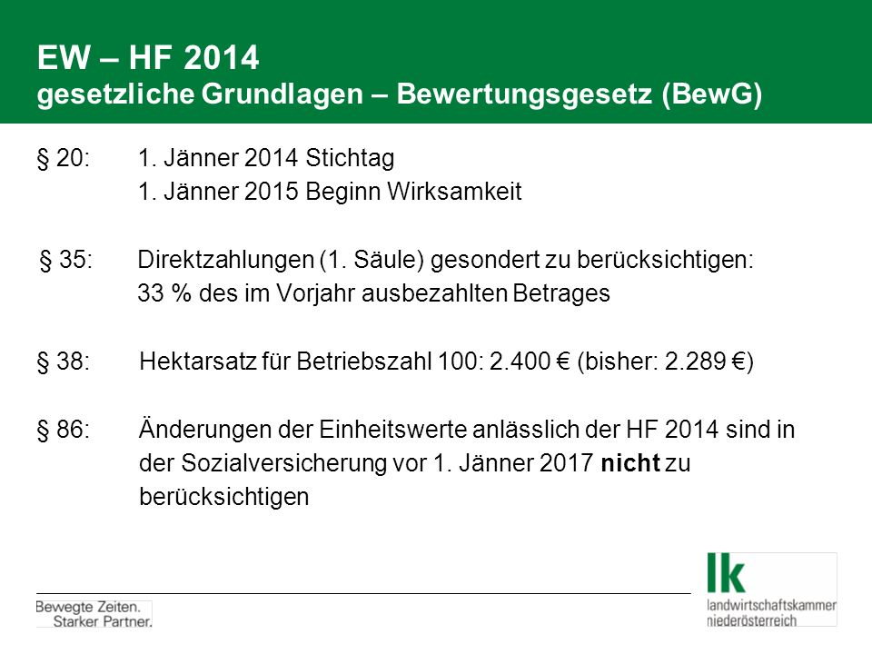 EW – HF 2014 gesetzliche Grundlagen – Bewertungsgesetz (BewG) § 20: 1.