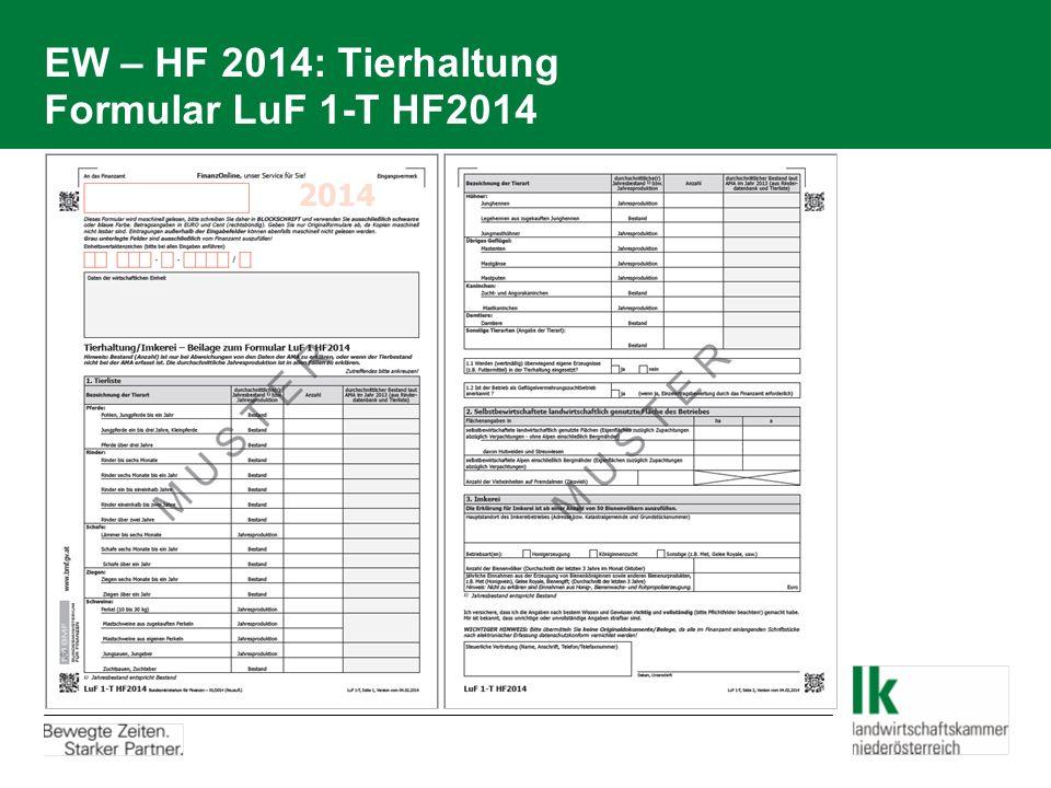 EW – HF 2014: Tierhaltung Formular LuF 1-T HF2014