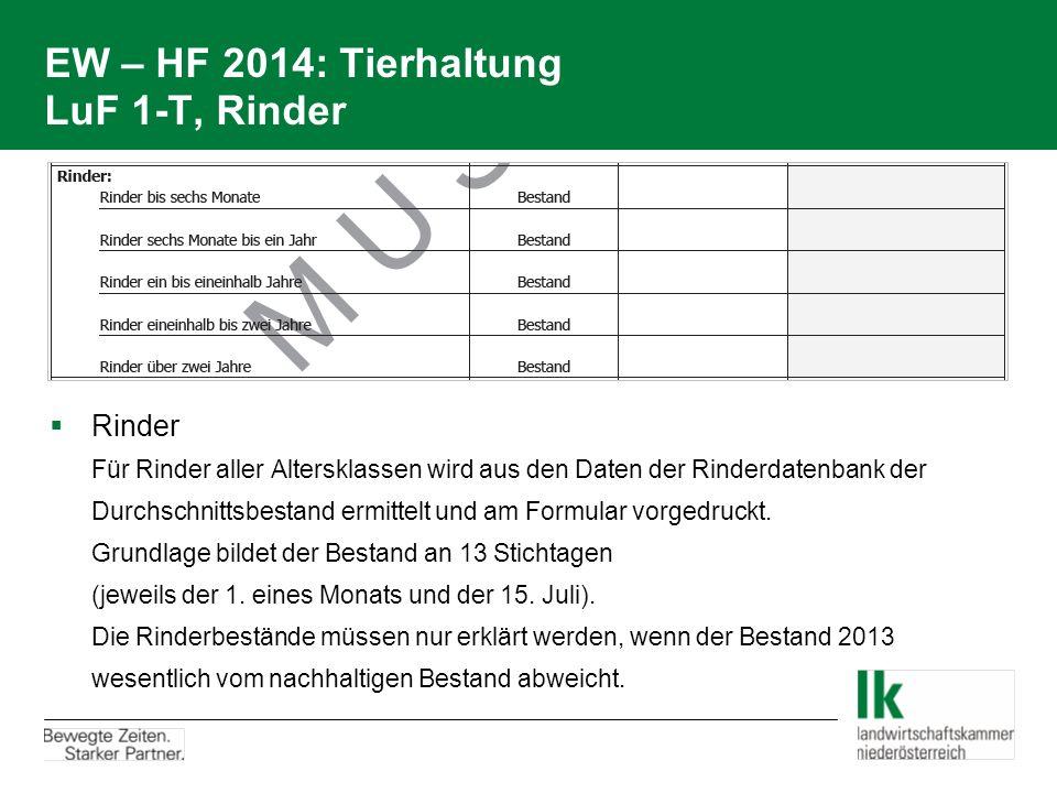 EW – HF 2014: Tierhaltung LuF 1-T, Rinder  Rinder Für Rinder aller Altersklassen wird aus den Daten der Rinderdatenbank der Durchschnittsbestand ermi