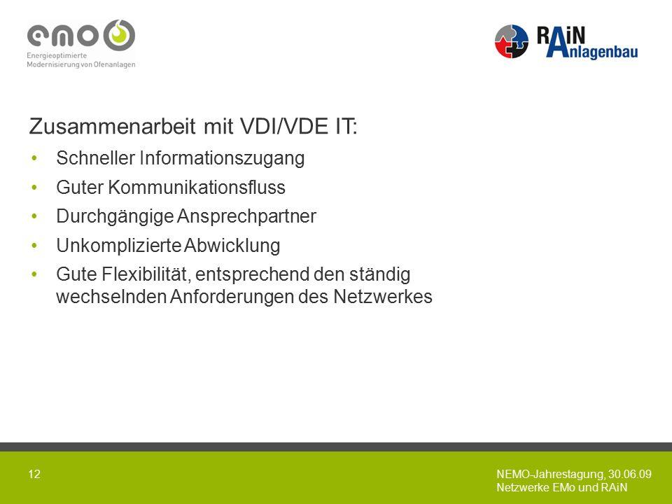 NEMO-Jahrestagung, 30.06.09 Netzwerke EMo und RAiN 12 Zusammenarbeit mit VDI/VDE IT: Schneller Informationszugang Guter Kommunikationsfluss Durchgängige Ansprechpartner Unkomplizierte Abwicklung Gute Flexibilität, entsprechend den ständig wechselnden Anforderungen des Netzwerkes