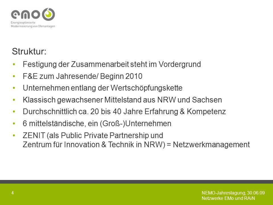 NEMO-Jahrestagung, 30.06.09 Netzwerke EMo und RAiN 4 Struktur: Festigung der Zusammenarbeit steht im Vordergrund F&E zum Jahresende/ Beginn 2010 Unternehmen entlang der Wertschöpfungskette Klassisch gewachsener Mittelstand aus NRW und Sachsen Durchschnittlich ca.