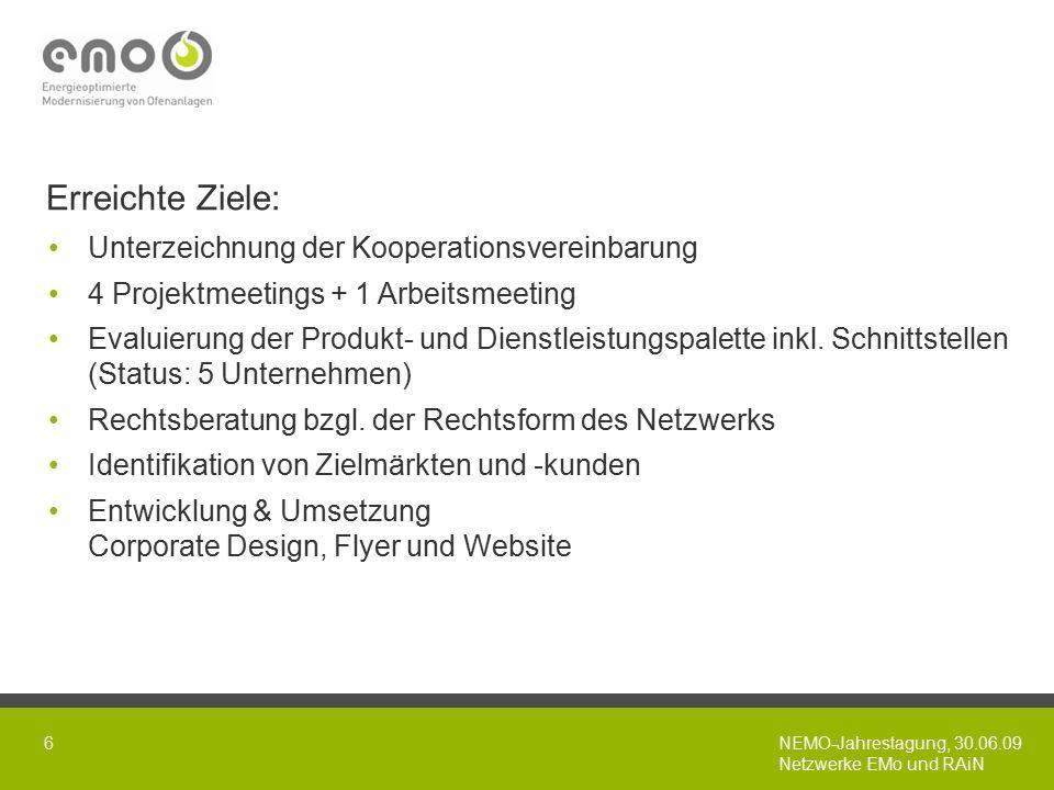 NEMO-Jahrestagung, 30.06.09 Netzwerke EMo und RAiN 6 Erreichte Ziele: Unterzeichnung der Kooperationsvereinbarung 4 Projektmeetings + 1 Arbeitsmeeting Evaluierung der Produkt- und Dienstleistungspalette inkl.