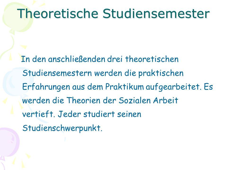 Theoretische Studiensemester In den anschließenden drei theoretischen Studiensemestern werden die praktischen Erfahrungen aus dem Praktikum aufgearbeitet.