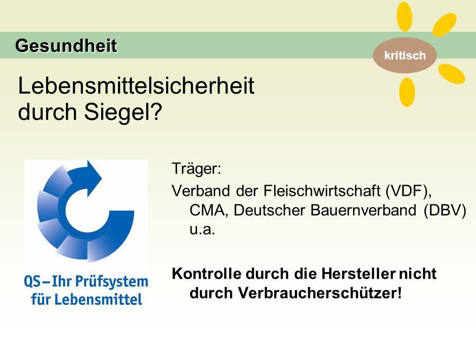 kritisch Träger: Verband der Fleischwirtschaft (VDF), CMA, Deutscher Bauernverband (DBV) u.a.