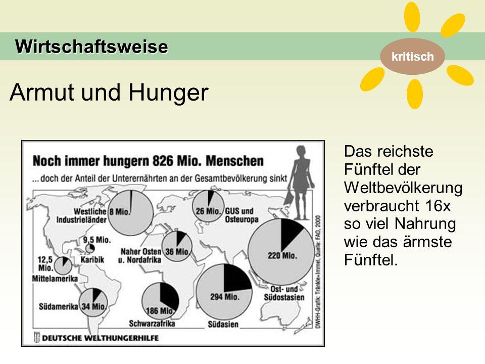 kritisch Armut und Hunger Das reichste Fünftel der Weltbevölkerung verbraucht 16x so viel Nahrung wie das ärmste Fünftel.