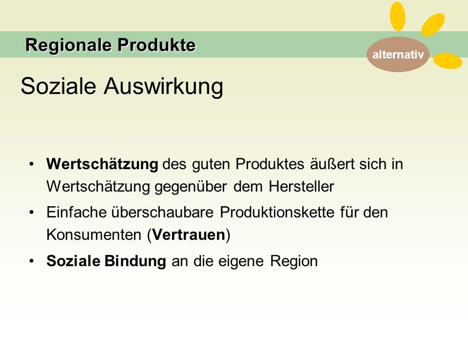 alternativ Soziale Auswirkung Wertschätzung des guten Produktes äußert sich in Wertschätzung gegenüber dem Hersteller Einfache überschaubare Produktionskette für den Konsumenten (Vertrauen) Soziale Bindung an die eigene Region Regionale Produkte