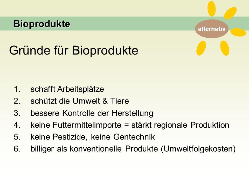 alternativ Gründe für Bioprodukte 1. schafft Arbeitsplätze 2.