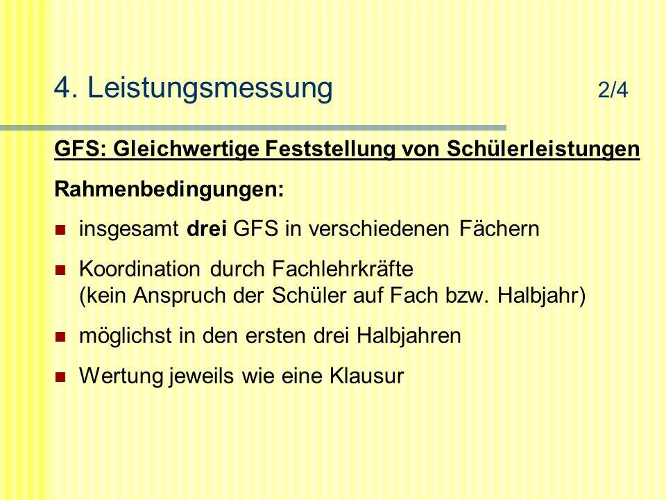 4. Leistungsmessung 2/4 GFS: Gleichwertige Feststellung von Schülerleistungen Rahmenbedingungen: insgesamt drei GFS in verschiedenen Fächern Koordinat