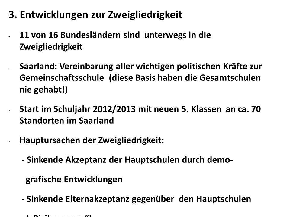3. Entwicklungen zur Zweigliedrigkeit 11 von 16 Bundesländern sind unterwegs in die Zweigliedrigkeit Saarland: Vereinbarung aller wichtigen politische