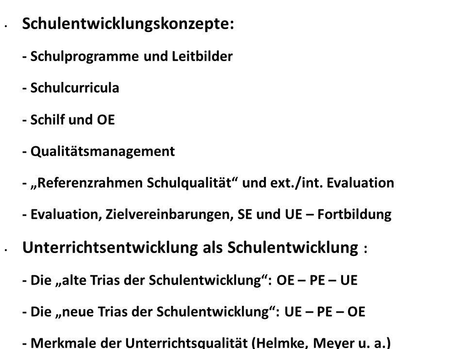 """Schulentwicklungskonzepte: - Schulprogramme und Leitbilder - Schulcurricula - Schilf und OE - Qualitätsmanagement - """"Referenzrahmen Schulqualität und ext./int."""