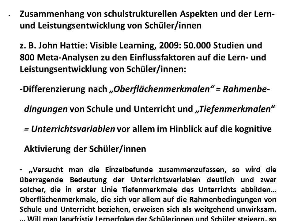 Zusammenhang von schulstrukturellen Aspekten und der Lern- und Leistungsentwicklung von Schüler/innen z.