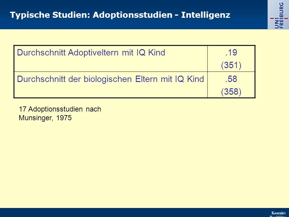 Kontakt: Renkl@ps ychologie.uni- freiburg.d e URL: http://w ww.psych ologie.uni - freiburg.d e/einricht ungen/Pa edagogisc he/ Typische Studien: Adoptionsstudien - Intelligenz Durchschnitt Adoptiveltern mit IQ Kind.19 (351) Durchschnitt der biologischen Eltern mit IQ Kind.58 (358) 17 Adoptionsstudien nach Munsinger, 1975