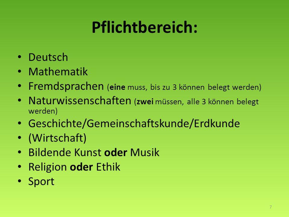 Pflichtbereich: Deutsch Mathematik Fremdsprachen (eine muss, bis zu 3 können belegt werden) Naturwissenschaften (zwei müssen, alle 3 können belegt werden) Geschichte/Gemeinschaftskunde/Erdkunde (Wirtschaft) Bildende Kunst oder Musik Religion oder Ethik Sport 7