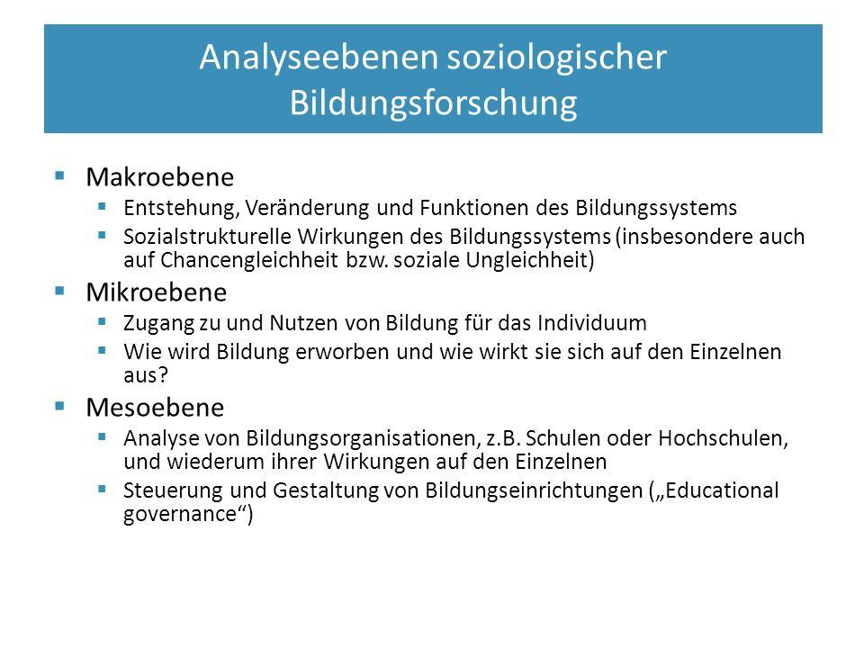  Makroebene  Entstehung, Veränderung und Funktionen des Bildungssystems  Sozialstrukturelle Wirkungen des Bildungssystems (insbesondere auch auf Chancengleichheit bzw.