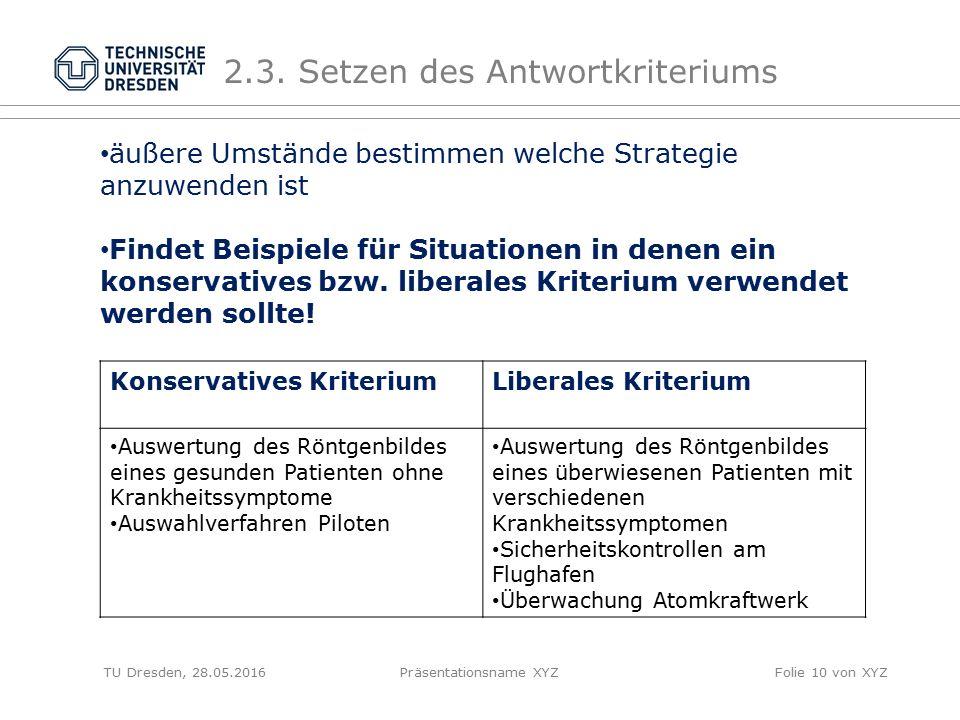 TU Dresden, 28.05.2016Präsentationsname XYZFolie 10 von XYZ 2.3. Setzen des Antwortkriteriums äußere Umstände bestimmen welche Strategie anzuwenden is