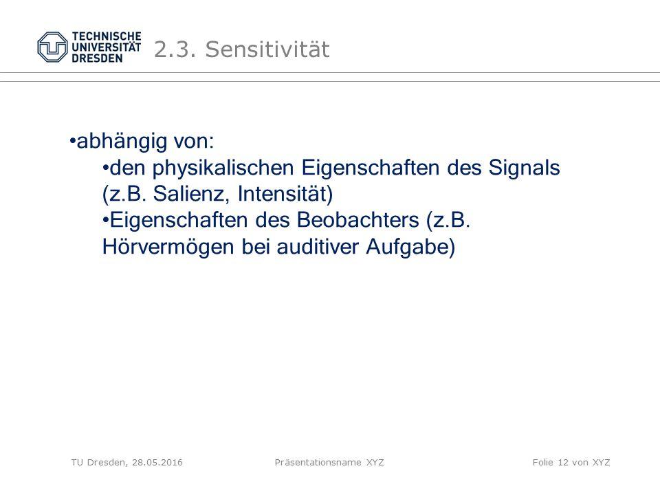TU Dresden, 28.05.2016Präsentationsname XYZFolie 12 von XYZ 2.3. Sensitivität abhängig von: den physikalischen Eigenschaften des Signals (z.B. Salienz
